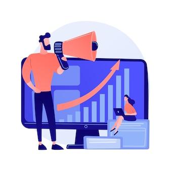 Desenvolvimento de negócios. desenvolvimento de mercado, expansão de negócios, propaganda, marketing. infográfico e análises estatísticas. ilustração do conceito de gerente corporativo