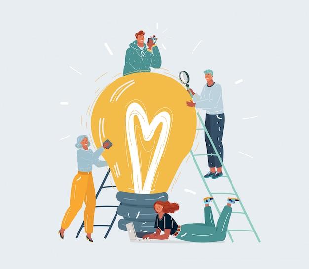 Desenvolvimento de novas idéias. pessoas minúsculas. personagens de homens e mulheres em torno da grande lâmpada