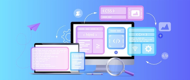 Desenvolvimento de página de site de web design de conceito o processo de trabalhopágina de destino de modelo para site