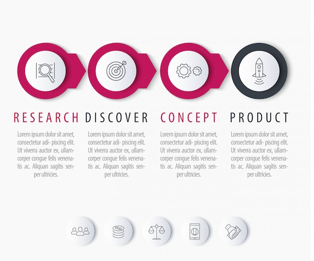 Desenvolvimento de produtos, elementos de infográficos, etiquetas de passo com ícones de linha, ilustração