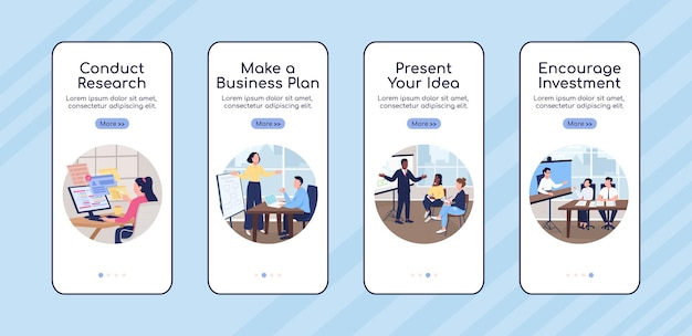 Desenvolvimento de projeto empresarial onboarding modelo de vetor plano tela de aplicativo móvel. passo a passo do site 4 etapas com personagens. ux criativo, iu, interface de desenho animado gui de smartphone, conjunto de estampas de caixa