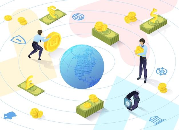 Desenvolvimento de serviços bancários em aspectos qualitativos. no center globe ao seu redor, man rolls gold coin, ao lado dele está guy with money.