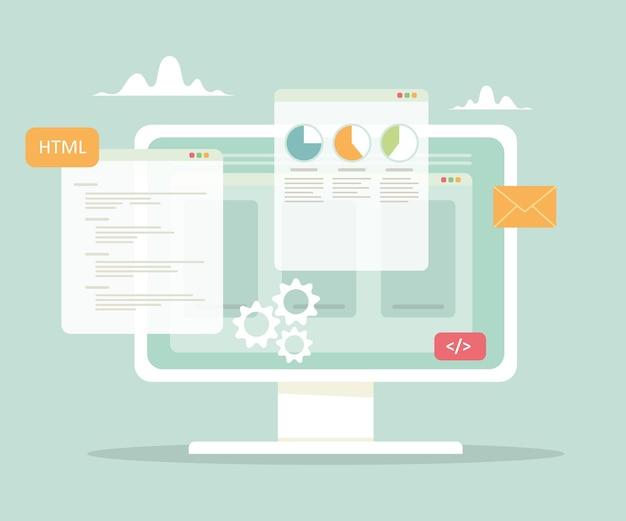 Desenvolvimento de site e ilustração de programação