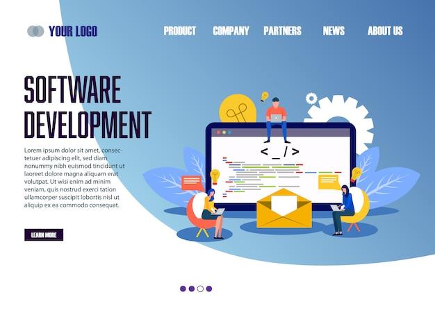 Desenvolvimento de software de modelo de web da página de destino