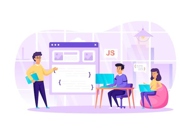 Desenvolvimento de software de programação no conceito de design plano de escritório