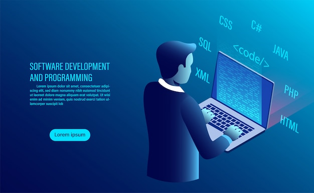 Desenvolvimento de software e codificação. programação de conceito. processamento de dados. código de computador com interface de janela.