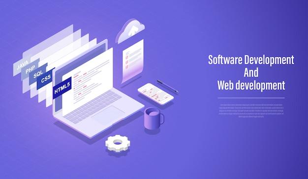 Desenvolvimento de software e conceito isométrico de desenvolvimento web