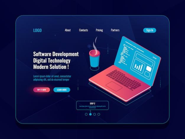 Desenvolvimento de software isométrico, programação e código de escrita, laptop com xícara de café, análise de dados