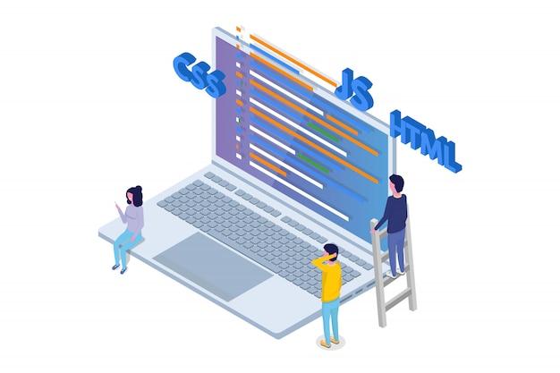 Desenvolvimento de software isométrico, programador no trabalho. processamento de big data. ilustração vetorial