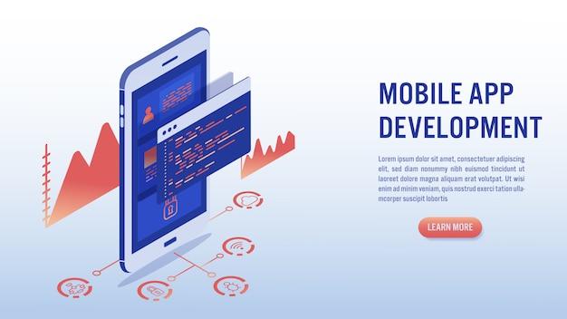 Desenvolvimento de software, programação e conceito de aplicação móvel.