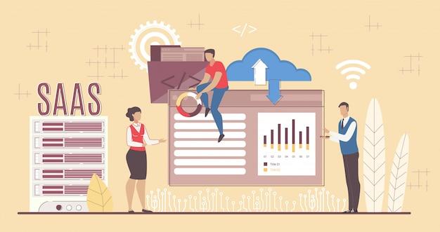 Desenvolvimento de software saas aplicando para negócios Vetor Premium