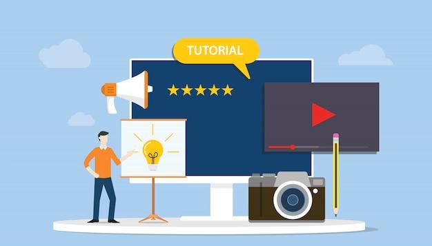 Desenvolvimento de treinamento tutorial profissional ou conceito de criação com pessoas de homens e vídeo da câmera
