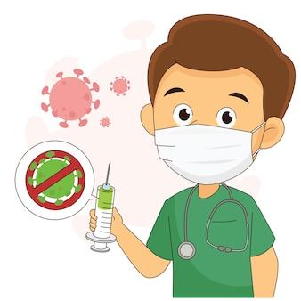 Desenvolvimento de vacina contra coronavírus com médico