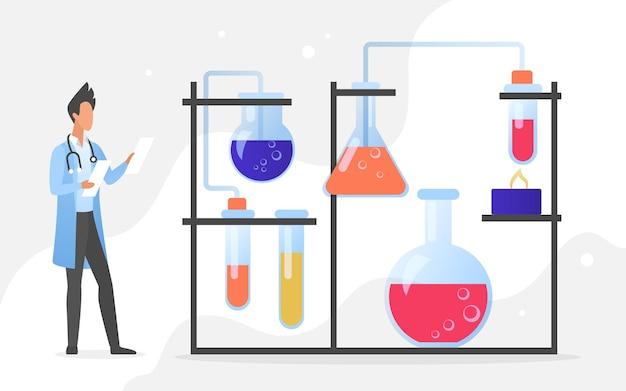 Desenvolvimento de vacinas em laboratório científico, medicina, ciência, saúde, tecnologia. trabalhador da área médica de desenho animado desenvolve medicamento para vacina com equipamento de laboratório