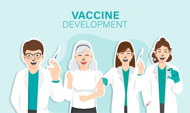 Desenvolvimento de vacinas, happy scientists discovered vaccine against coronavirus