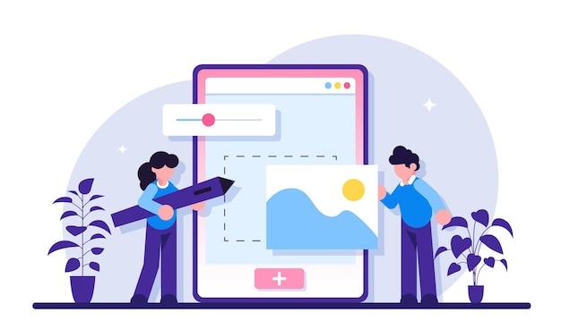 Desenvolvimento de web design. web design, interface do usuário iu e organização de conteúdo ux da experiência do usuário
