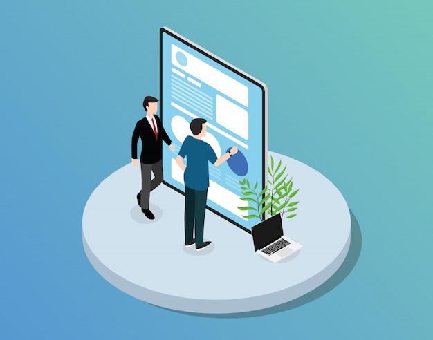 Desenvolvimento de websites de aplicativos para dispositivos móveis com um tablet a