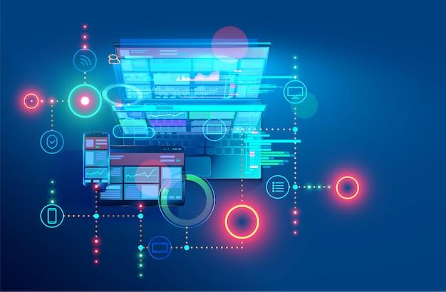 Desenvolvimento, design e codificação de aplicativos web e offline. projetando interface e código de programas.