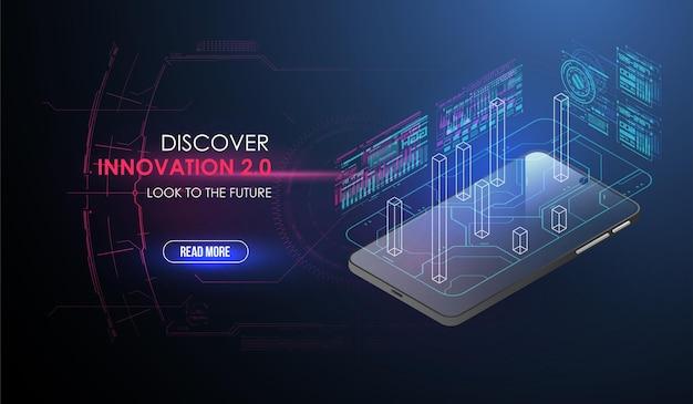 Desenvolvimento do conceito de um novo smartphone no estilo hud.