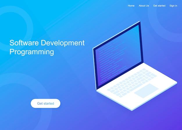 Desenvolvimento e programação de software, código de programa na tela do laptop