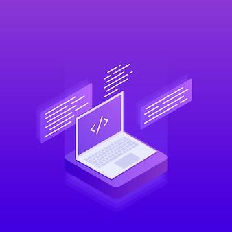 Desenvolvimento e programação de software, etiquetas de código de programa na tela do laptop, processamento de big data. plano isométrico 3d. ilustração moderna