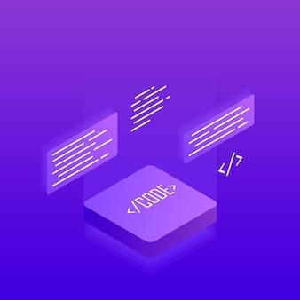 Desenvolvimento e programação de software, processamento de big data. plano isométrico 3d. ilustração moderna
