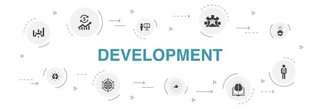 Desenvolvimento infográfico 10 passos círculo design. solução global, conhecimento, investidor, brainstorming de ícones simples