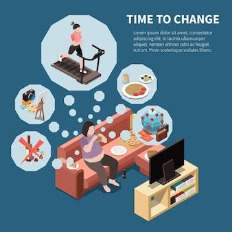 Desenvolvimento pessoal, autodesenvolvimento isométrico, com mulher sentada em frente à tv sonhando com atividades