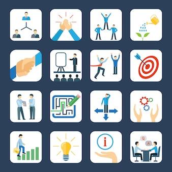 Desenvolvimento pessoal e trabalho em equipe, mentoring, programas de negócios, conjunto de ícones planas