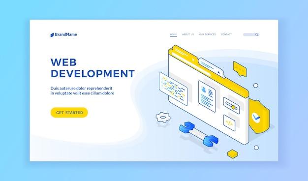 Desenvolvimento web. desenho vetorial isométrico de banner oferecendo aprendizagem online de desenvolvimento web. conceito de programação e codificação. banner isométrico da web, modelo de página de destino