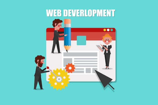 Desenvolvimento web, design de conceito de seo estilo de personagem de desenho animado