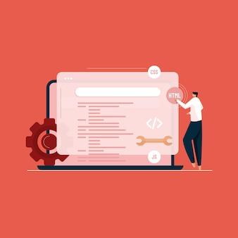 Desenvolvimento web e conceito de vetor de codificação de programação de sites