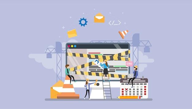 Desenvolvimento web em construção personagem de pessoas pequenas de página