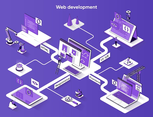 Desenvolvimento web isométrico web banner isometria plana