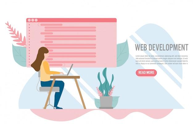 Desenvolvimento web para site e conceito de site móvel