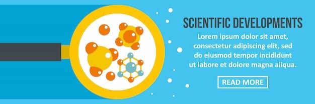 Desenvolvimentos científicos banner modelo horizontal conceito