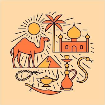 Deserto árabe, ilustração de contorno, conjunto de ícones, fundo de viagens.