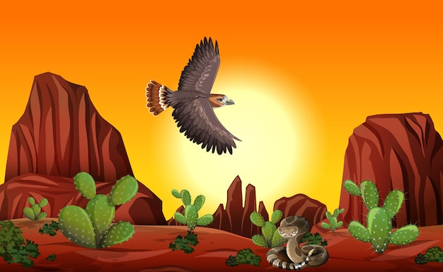 Deserto com montanhas rochosas e paisagem de animais do deserto na cena do pôr do sol