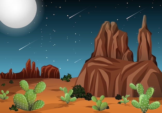 Deserto com montanhas rochosas e paisagem de cactos à noite