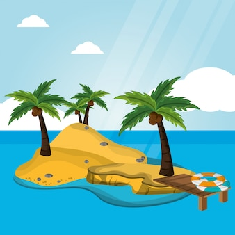 Deserto da ilha com férias do lifebuoy do cais
