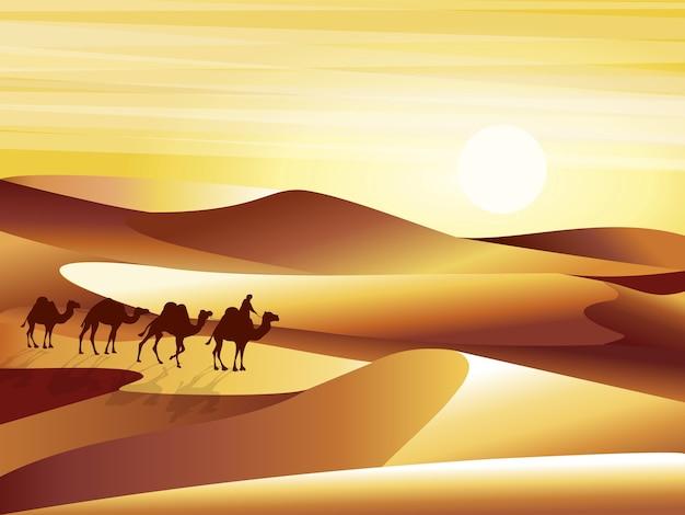 Deserto de fundo de paisagem com ilustração de dunas, barkhans e caravana de camelos.