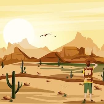 Deserto de fundo de paisagem com ilustração de viajante, cactos, montanhas e pássaros.