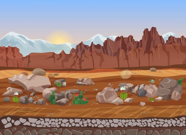 Deserto de pedra seca de pradaria dos desenhos animados