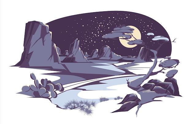 Deserto e paisagem noturna com pedras montanhas colinas plantas e cactos cena do faroeste dos desenhos animados sob a lua noite