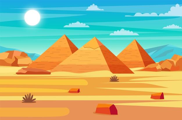 Deserto egípcio com pirâmides.