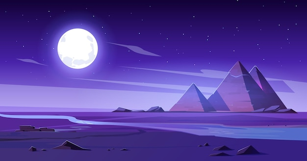 Deserto egípcio com rio e pirâmides à noite.