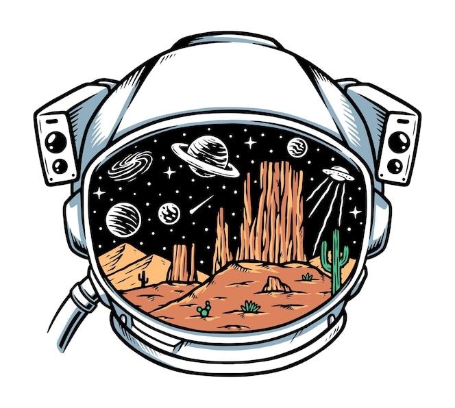 Deserto em ilustração de capacete de astronauta