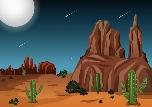 Deserto na cena noturna