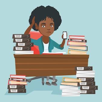 Desespero, africano-americano, gerente, trabalhando, em, escritório