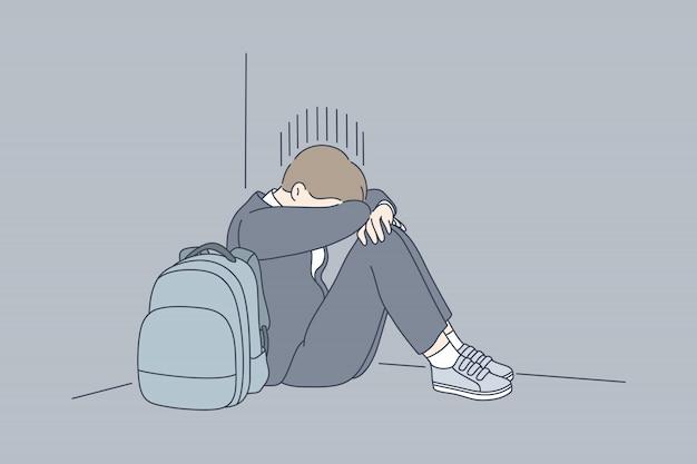 Desespero, frustração, depressão, estresse mental, conceito de bullying.